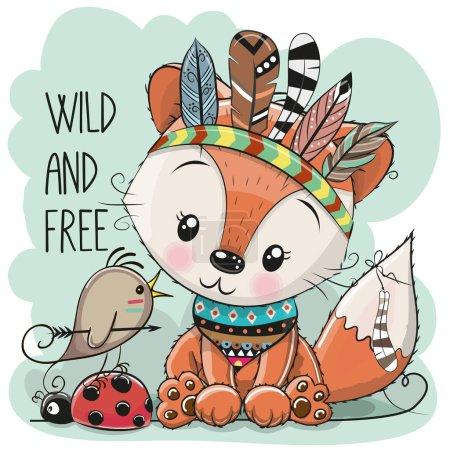 Illustration pour Mignon dessin animé tribal renard et oiseau avec des plumes - image libre de droit