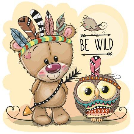 Illustration pour Mignon dessin animé tribal ours en peluche et hibou avec des plumes - image libre de droit