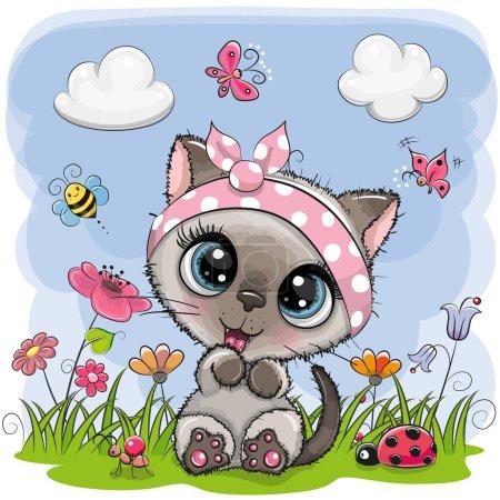 Photo pour Mignon dessin animé chaton fille sur une prairie avec des fleurs et des papillons - image libre de droit