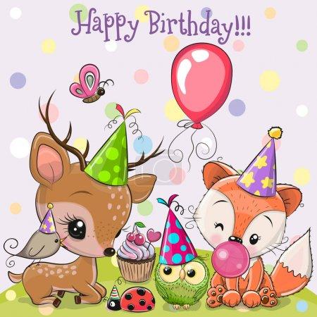 Photo pour Carte d'anniversaire avec cerfs mignons et chouettes renards avec ballon et bonnets - image libre de droit