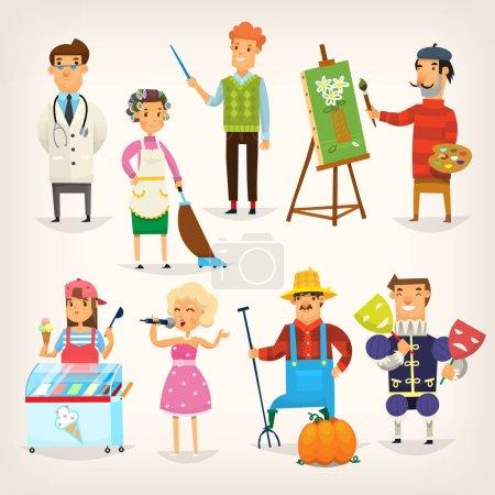 Photo pour Ensemble de personnages de dessins animés de différentes professions. Variété de personnes qui font leur travail. Illustrations vectorielles isolées - image libre de droit