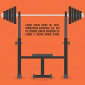Sports equipment item Barbell bench press element design for gym Flat style vector illustration