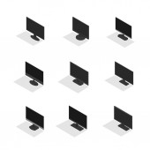 Set of various computer monitors isolated on white background Element design of digital devices Flat 3d isometric style vector illustration