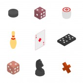 Set of game icons Items to play dominoes chess dice checkers and lotto Flat 3D isometric style vector illustration