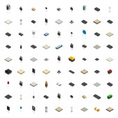 Set of different 3D electronic components  vector illustration