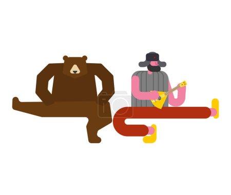 Illustration pour Musique de groupe de Russie. L'homme russe et l'ours dansent. Danse traditionnelle. bête folklorique nationale - image libre de droit