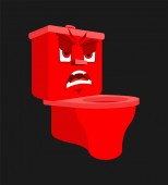 Toilet bowl angry emotion isolated Evil lavatory Cartoon Style