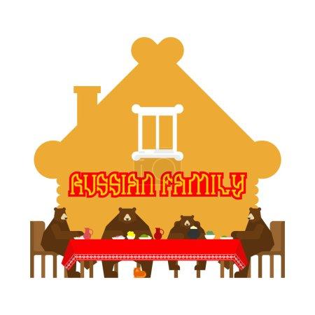 Illustration pour Famille d'ours russe à la maison. Ours animal domestique traditionnel. Cabane en bois. Russie culture - image libre de droit