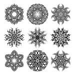 Vector Monochrome Set of Mandalas. Round Abstract ...