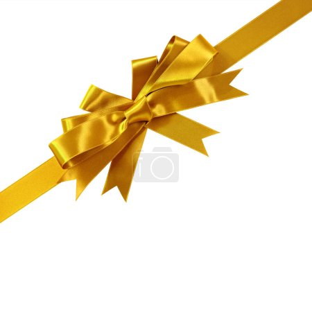 Photo pour Ruban cadeau arc en or coin diagonale isolé - image libre de droit
