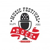 Rock music legendary festival logo black and red poster with vintage microphone vector Illustration on a white background