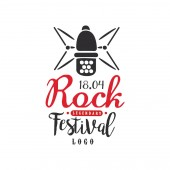 Legendary Rock festival logo 18 april black and red emblem vector Illustration on a white background