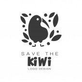 Save the kiwi logo design protection of wild animal black and white sign vector Illustrations on a white background