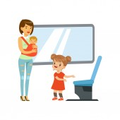 Little girl giving way to woman with baby in public transport kids good manners concept vector Illustration on a white background