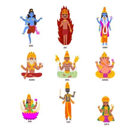 Indian Gods set, Shiva, Igny, Vishnu, Ganesha, Ind...