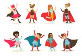 Girls in superhero costume set pretty little super girls vector Illustrations isolated on a white background