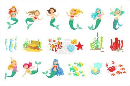 Photo pour Stickers Sirènes et Nature Sous-marine. Illustrations de style enfantin de bande dessinée mignon isolé sur fond blanc . - image libre de droit