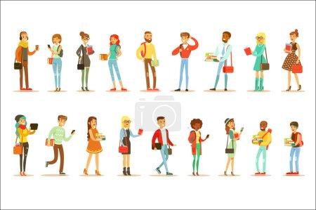 Illustration pour Étudiants universitaires et universitaires Street Fashion Looks Set avec de jeunes hommes et femmes avec des sacs et des livres. Les jeunes adultes modernes vont à leurs études à la recherche fraîche dans le style vestimentaire Hipster . - image libre de droit