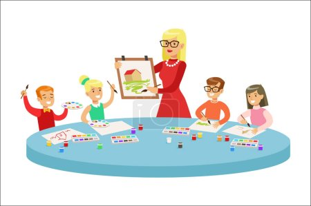 Illustration for Children In Art Class Two Cartoon Illustrations With Elementary School Kids And Their Techer Crafting And Drawing In Creativity Lesson. Happy Schoolkids Painting And Making Paper Craft With - Royalty Free Image