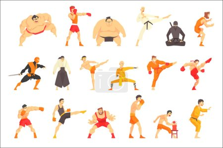 Martial Arts Fighters Demonstrating Different Tech...