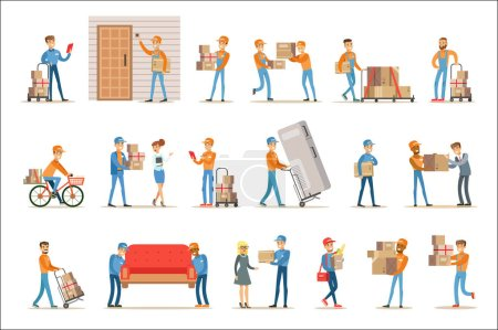 Illustration for Different Delivery Service Workers And Clients, Smiling Couriers Delivering Packages And Movers Bringing Furniture Set Of Illustrations. Vector Cartoon Characters In Uniform Carrying Carton Boxes With - Royalty Free Image