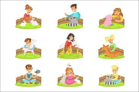 Illustration pour Enfants caressant les petits animaux dans le zoo animalier Série d'illustrations de dessins animés avec des enfants s'amusant. Scènes colorées vectorielles avec les filles et les garçons touchant louveteaux animaux dans la ferme animalière . - image libre de droit