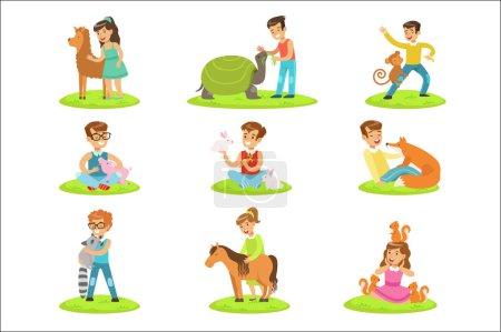 Illustration pour Enfants caressant les petits animaux dans le zoo animalier Collection d'illustrations de dessins animés avec des enfants s'amusant. Scènes colorées vectorielles avec des garçons et des filles touchant des louveteaux animaux dans la ferme animalière . - image libre de droit