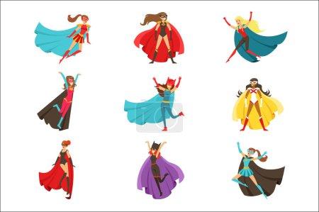 Illustration pour Superhéros féminins dans des costumes classiques de bande dessinée avec des chapeaux ensemble de personnages de bande dessinée plats souriants avec des super pouvoirs. Collection d'autocollants colorés avec des gens habillés en costumes de héros puissants - image libre de droit