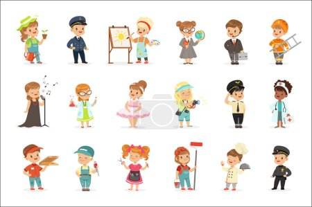 Photo for Cute kids in various professions set. Smiling little boys and girls in uniform with professional equipment colorful vector illustrations isolated on a light blue background - Royalty Free Image