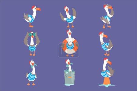 Illustration pour Mouette de dessin animé drôle montrant différentes actions et émotions ensemble, personnages d'oiseaux comiques mignons vecteur Illustrations - image libre de droit