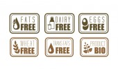 Vector set of allergen free labels trans fats dairy eggs and wheat  Natural product symbols Organic food theme
