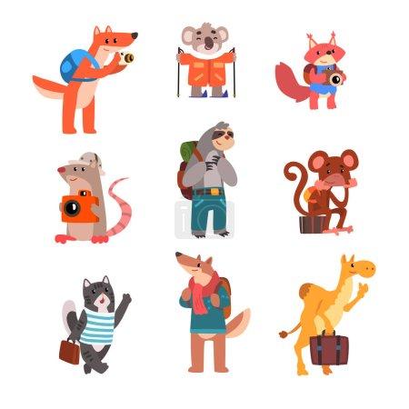Photo pour Ensemble de voyage animaux mignons, animaux sauvages personnages de dessins animés avec sacs à dos et valises vecteur Illustration isolé sur un fond blanc . - image libre de droit