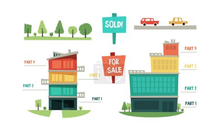 Illustration for Real estate infographic elements, purchase and sale of property vector Illustration isolated on a white background. - Royalty Free Image
