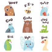 Cute Cartoon Farm Animal Making Sounds Set Owl Bee Bird Pigeon Bear Frog Snake Elephant Goose Saying Vector Illustration