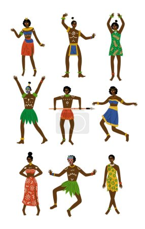 African People Set, Male and Female Aboriginal Dressed in Bright Traditional Tribal Clothing and Ethnic Jewelry Vector Illustration