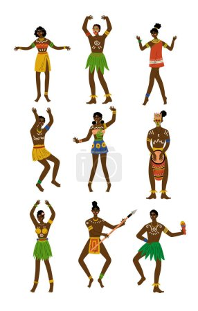 African People Set, Male and Female Aboriginal with Painted Faces Dressed in Bright Traditional Tribal Clothing and Ethnic Jewelry Vector Illustration