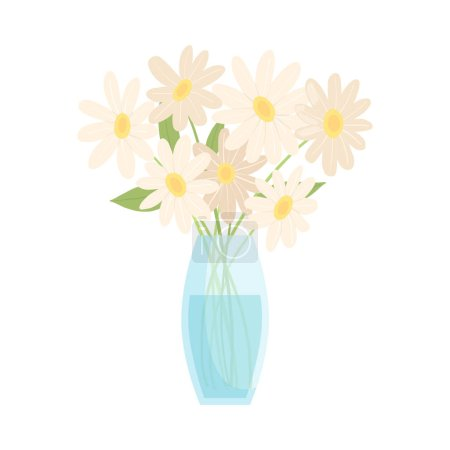 Illustration for Beautiful Chamomile Flowers in Glass Vase, Bouquet of Blooming Flowers for Interior Decoration Vector Illustration on White Background. - Royalty Free Image