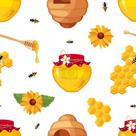 Photo pour Honey Bee, Honeycomb, Jar and Flowers Seamless Pattern, Organic Natural Honey Products, Beekeeping and Honey Production Concept Vector Illustration. - image libre de droit