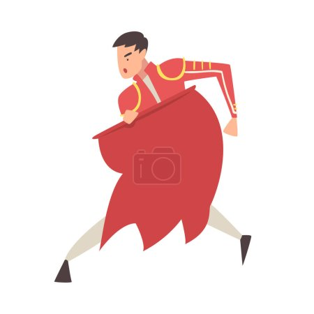 Photo pour Man Bullfighter, Toreador Character Dressed in Red Traditional Costume, Spanish Corrida Performance Cartoon Style Vector Illustration Isolated on White Background. - image libre de droit