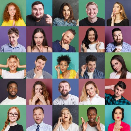 Photo for Different emotions collage. Set of male and female emotional portraits. Young diverse people grimacing and gesturing on camera at colorful studio backgrounds - Royalty Free Image
