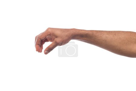 Male hand picking up something, cutout