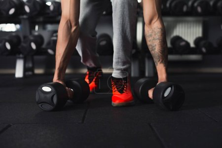 Photo for Unrecognizable bodybuilder doing heavy deadlifts in modern fitness center. Strong man exercising with dumbbell at gym, copy space - Royalty Free Image