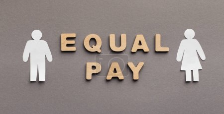 Photo for Equal Pay for man and woman, wooden words with gender figures on gray background, panorama - Royalty Free Image