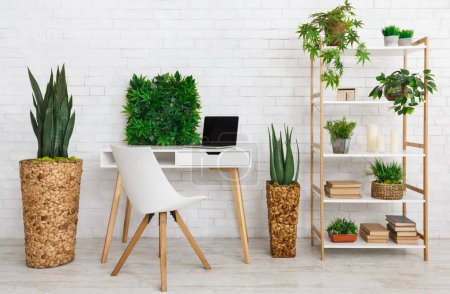 Photo for Workplace with various plants on the bookshelf and floor, cozy room - Royalty Free Image