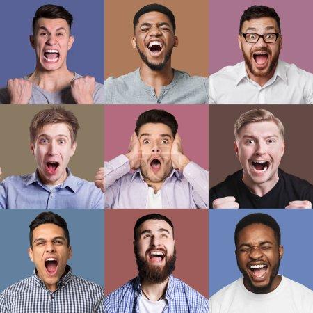Photo pour Ensemble de portraits émotionnels masculins. Les jeunes hommes grimaçant et gesticulant à la caméra dans des milieux de studio colorés - image libre de droit