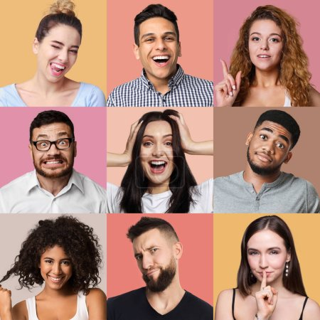 Photo for Set of male and female emotional portraits. Young diverse people grimacing and gesturing at colorful studio backgrounds - Royalty Free Image