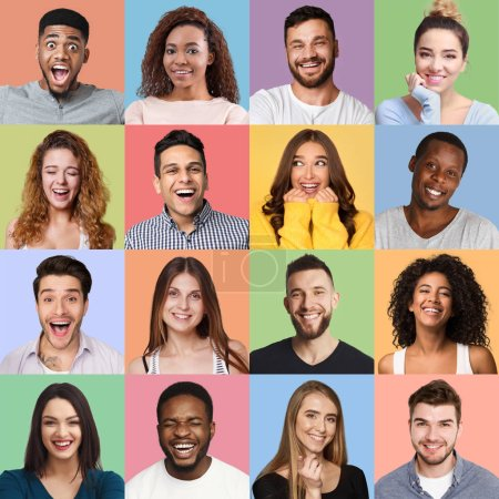 Photo for Set of millennials emotional portraits. Young diverse people grimacing and gesturing at colorful studio backgrounds - Royalty Free Image