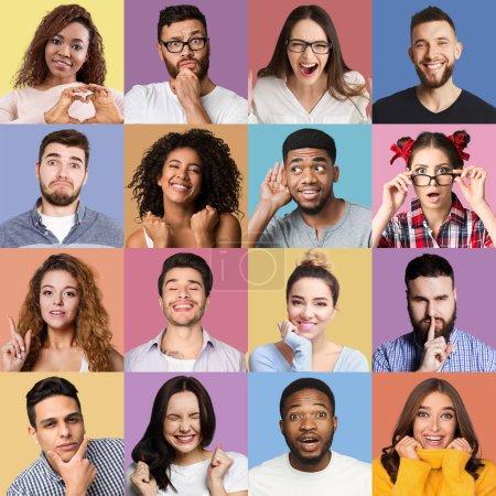 Photo pour Ensemble de portraits émotionnels milléniaux. Jeunes gens divers grimaçant et gesticulant sur des milieux colorés - image libre de droit