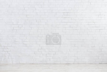Photo for White brick wall and white wooden floor background - Royalty Free Image