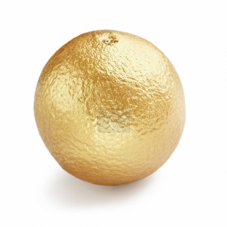 Photo for Golden orange isolated on white background. Golden fruits concept - Royalty Free Image